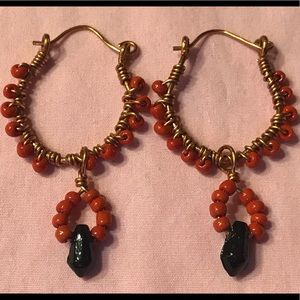 Jewelry - Red Coral & Azabache Dangling Earrings